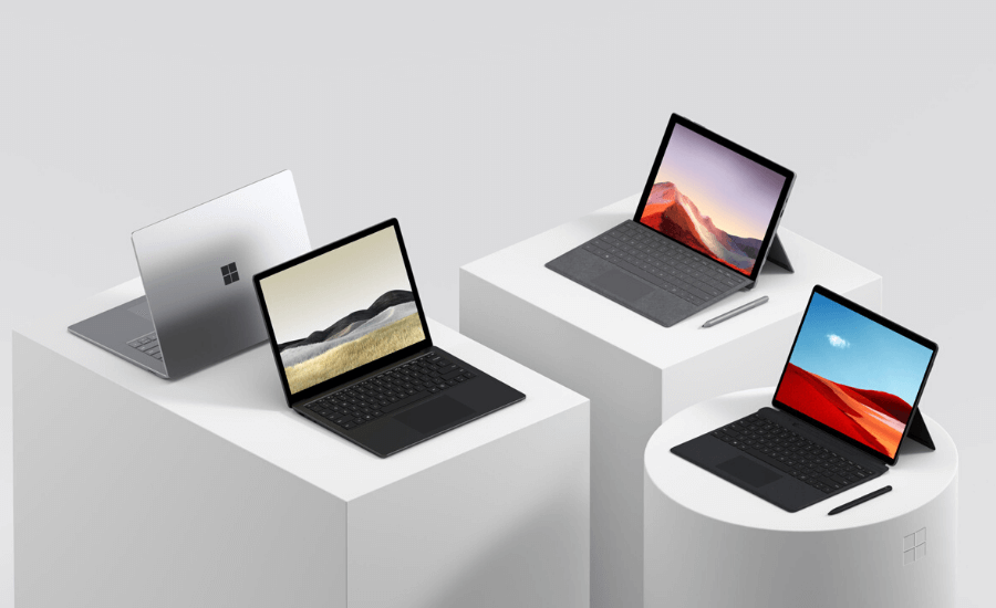Microsoft Surface Pro X, Surface Pro 7 and Surface Laptop 3 by Opsule